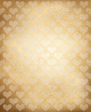 Vector old paper texture with heart pattern. Royalty Free Stock Photography