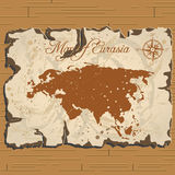 Vector old parchament. Map of Eurasia. Royalty Free Stock Photos