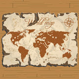 Vector old parchament. Treasure and world map. Stock Photo