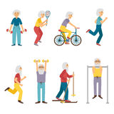 Vector old people activity Royalty Free Stock Photos