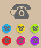 Vector old phone icons with color variations.  Stock Images