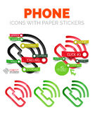 Vector old phone linear style icons, 3d cut out relief with sticker - buttons. Communication banner elements. Can be used as talking and chatting theme Royalty Free Stock Image