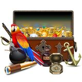 Vector Old Pirate Chest with Treasures vector illustration
