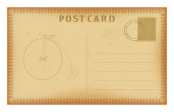 Vector old postcard with frame and retro bicycle. Grunge paper vintage post card. Royalty Free Stock Photo