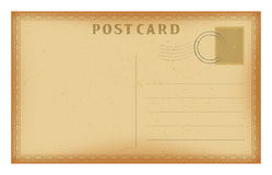 Vector old postcard with geometric frame. Grunge paper vintage post card. Stock Photography