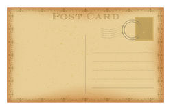 Vector old postcard with stamp. Grunge paper vintage post card. Stock Photos