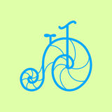 Vector old retro bicycle. Line art bike Stock Image