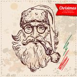 Vector old Santa hand drawn isolated, Royalty Free Stock Image