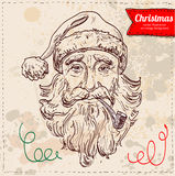 Vector old Santa hand drawn isolated, Stock Photography