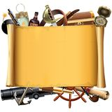 Vector Old Scroll with Pirate Accessories royalty free illustration