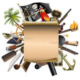 Vector Old Scroll with Pirate Accessories Royalty Free Stock Photography