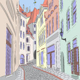 Vector. Old street in Tallinn. Royalty Free Stock Images