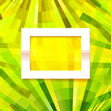 Vector old style green and yellow geometric background with paper frame Royalty Free Stock Images