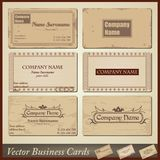 Vector old-style retro vintage business cards Stock Photos