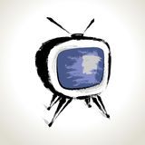 Vector: Old Television Drawing Royalty Free Stock Photo
