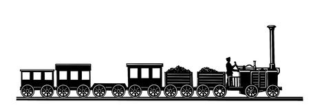 Vector Old-time Train Royalty Free Stock Photo