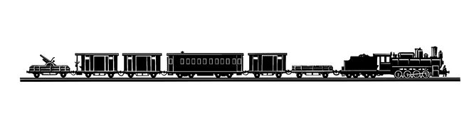 Vector Old-time Train Royalty Free Stock Photos