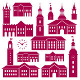 Vector old town elements Royalty Free Stock Photos