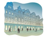 Vector of old town square at night. Vector illustration of young fashion woman Royalty Free Stock Images