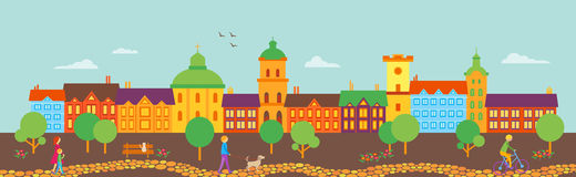 Vector old town view. Vector panorama Old town view. Good for footer or header Stock Image
