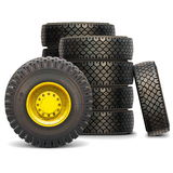 Vector Old Tractor Wheel Set Stock Images