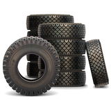 Vector Old Truck Tire Set Royalty Free Stock Photos