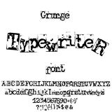 Vector old typewriter font. Vintage grunge letters. Old destroyed printed letters. Royalty Free Stock Photo