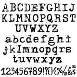 Vector old typewriter font. Vintage grunge letters. Old destroyed printed letters. Royalty Free Stock Image