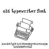 Vector old typewriter font. Vintage grunge letters. Old destroyed printed letters. Stock Image