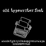 Vector old typewriter font. Vintage grunge letters. Old destroyed printed letters. Royalty Free Stock Photos