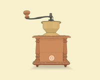 Vector old vintage coffee grinder. Isolated on background Royalty Free Stock Image