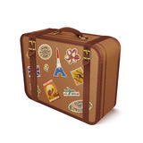 Vector old vintage leather suitcase with travel stickers Royalty Free Stock Image