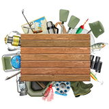 Vector Old Wooden Board with Fishing Tackle. On white background Stock Photos