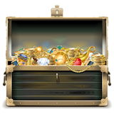 Vector Old Wooden Chest with Gold Stock Photos