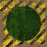 Vector old worn, tattered, scratch the square of yellow black stripes with a green circle in the middle.  Stock Image