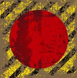 Vector old worn, tattered, scratch the square of yellow black stripes with a red circle in the middle. V Stock Images