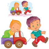 Vector older brother rolls a sleeping younger brother by car Stock Image