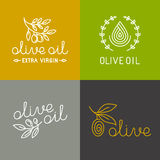 Vector olive oil icons and logos Royalty Free Stock Photo