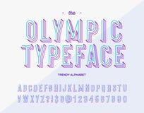 Vector olympisches Schriftbild modische alhabet 3d bunte Art Stockbilder