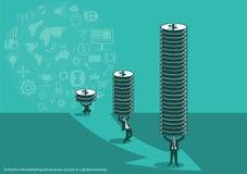 Vector om het marketing en bedrijfssucces in een wereldeconomie en pictogrammen een vlak ontwerp te financieren Royalty-vrije Stock Fotografie