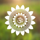 Vector Om Symbol Hindu in Lotus Flower Mandala Illustration Royalty Free Stock Image