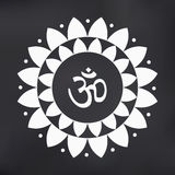 Vector Om Symbol Hindu in Lotus Flower Mandala Illustration Stock Image