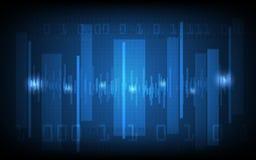 Vector a onda digital abstrata e olá! fundo do teste padrão da tecnologia Foto de Stock Royalty Free