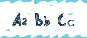 Vector onderwater Latijnse brieven A, B, C in Skandinavische stijl stock illustratie