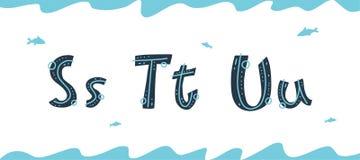 Vector onderwater Latijnse brieven S, T, U in Skandinavische stijl vector illustratie