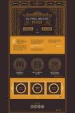 Vector one page web site template of creative design studio services. Design in trendy art deco style