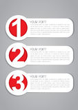 Vector One, Two, Three Labels Stock Photos