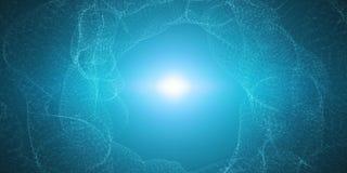 Vector oneindige cyber ruimteachtergrond Tunnel van gloeiende lijnen met illusie van diepte en perspectief Stock Foto's