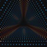 Vector oneindige driehoekige tunnel van kleurrijke cirkels op donkere achtergrond De tunnelsectoren van de gebiedenvorm royalty-vrije illustratie