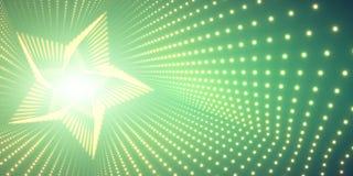 Vector oneindige ster verdraaide tunnel van glanzende gloed op groene achtergrond De gloeiende tunnel van de puntenvorm Stock Afbeeldingen